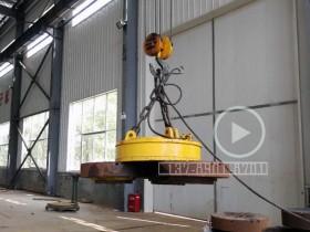 MW5-130L/1直径1.3米起重电磁铁测试吸力,吸起3个2吨重铁盘
