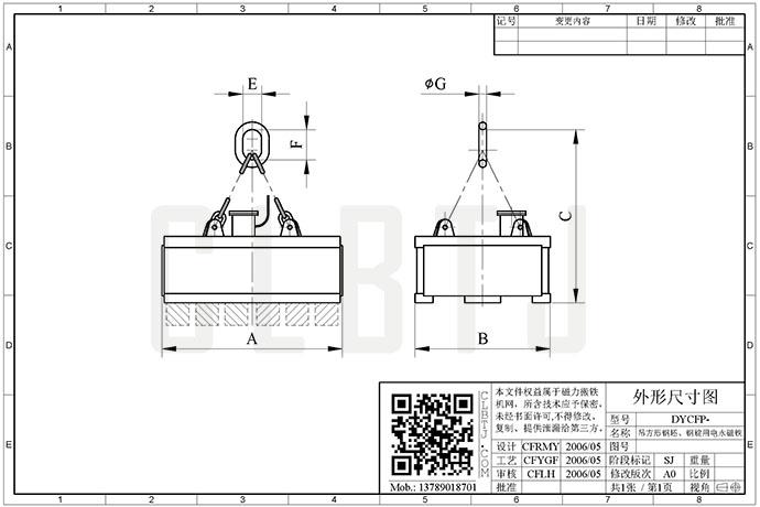 吊方形钢坯、钢锭用电永磁铁技术参数