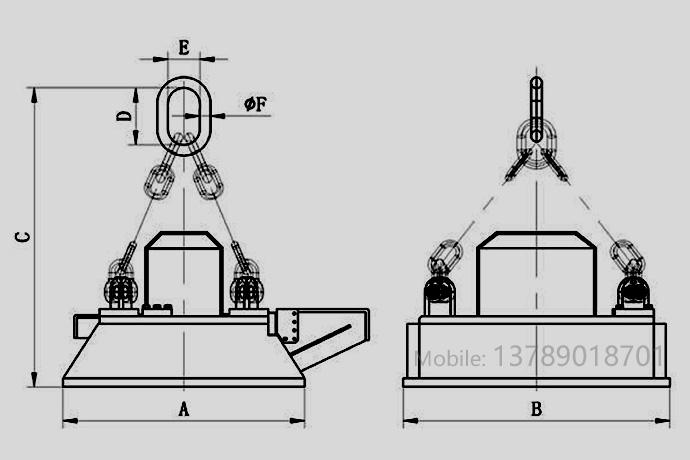 磁力搬铁机外形尺寸图