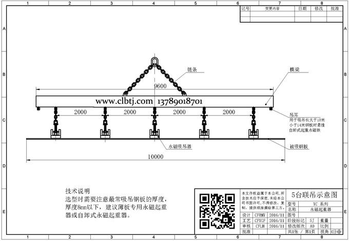 5台自卸式永磁起重器联吊方案示意图