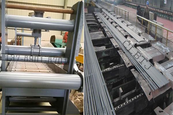 棒线材冷剪定尺用磁力链板输送轨道机使用效果