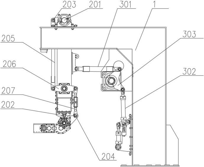 精确定位多组并联高速码垛系统的多连杆腕部水平保持机构的示意图13