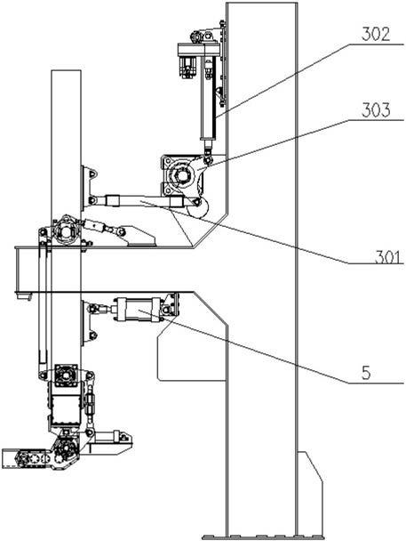 """精确定位多组并联高速码垛系统采用""""┤""""形机架异侧安装同步驱动装置和预紧装置的结构示意图17"""
