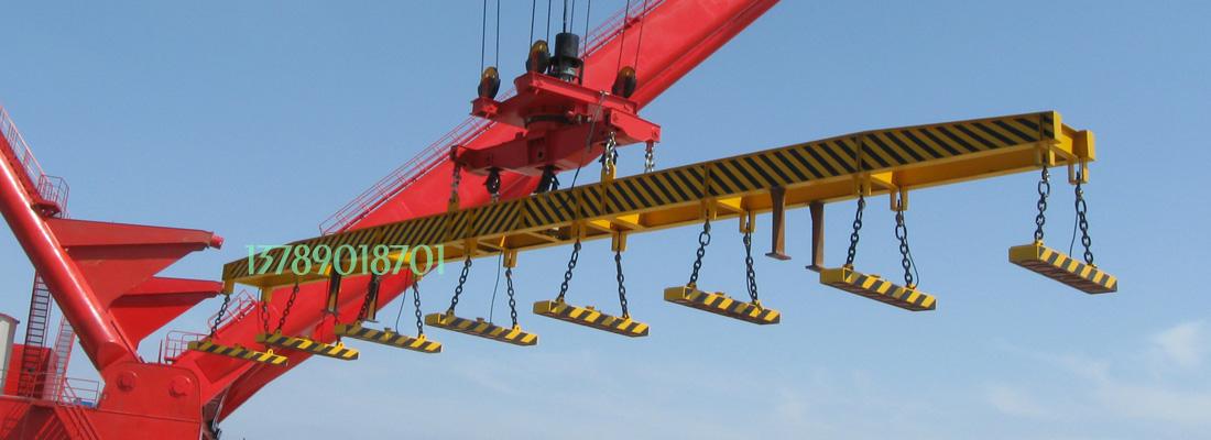 应用于上海中华造船厂,8台起重电磁铁联吊,主要用于码头装卸20米超长钢板用。