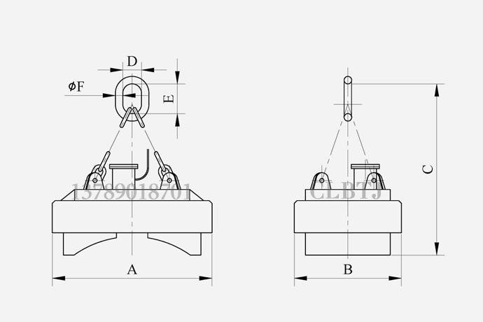 吸吊卧式钢卷卷板侧面用起重电磁铁技术参数图