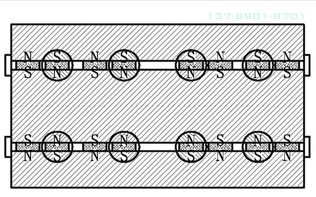 """图8为图4的""""B-B""""剖视图(磁力加强后的卸铁状态)。"""