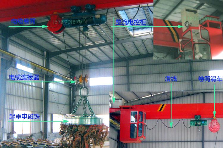 单梁起重机安装起重电磁铁的安装示意图