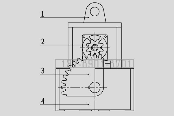扇形齿轮传动起重永磁铁原理图